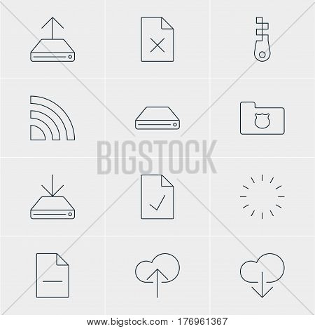 Vector Illustration Of 12 Internet Icons. Editable Pack Of Cloud Download, Data Upload, Wireless Network And Other Elements.