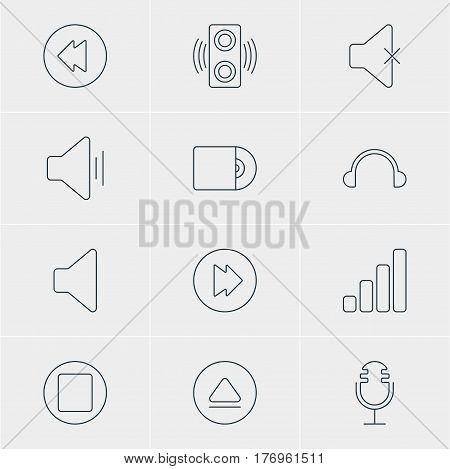 Vector Illustration Of 12 Melody Icons. Editable Pack Of Reversing, Compact Disk, Speaker And Other Elements.
