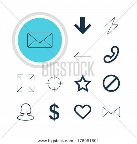 Vector Illustration Of 12 Interface Icons. Editable Pack Of Envelope, Emotion, Wide Monitor And Other Elements.