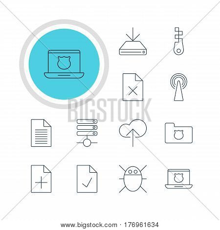 Vector Illustration Of 12 Web Icons. Editable Pack Of Router, Cloud Download, Checked Note And Other Elements.