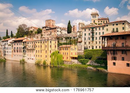Typical houses on the banks of the Adige river in Verona Italy.