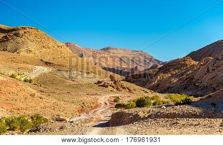 Landscape of the High Atlas Mountains between Ait Ben Ali and Bou Tharar - Morocco, North Africa