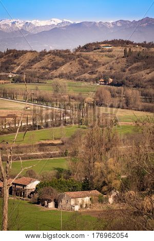 Abandoned farmhouse among the hills of Veneto Italy.