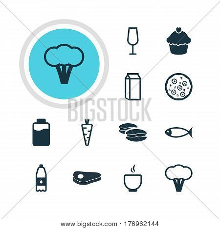 Vector Illustration Of 12 Dish Icons. Editable Pack Of Goblet, Biscuit, Drink Bottle And Other Elements.