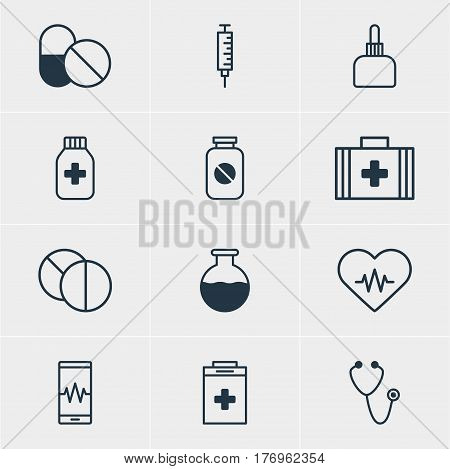 Vector Illustration Of 12 Health Icons. Editable Pack Of Exigency, Heart Rhythm, Pulse And Other Elements.