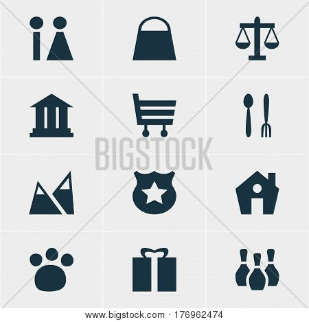 Vector Illustration Of 12 Location Icons. Editable Pack Of Pet Shop, Cafe, Cop And Other Elements.