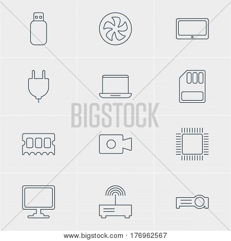 Vector Illustration Of 12 Notebook Icons. Editable Pack Of Presentation, Flash Drive, Tablet And Other Elements.