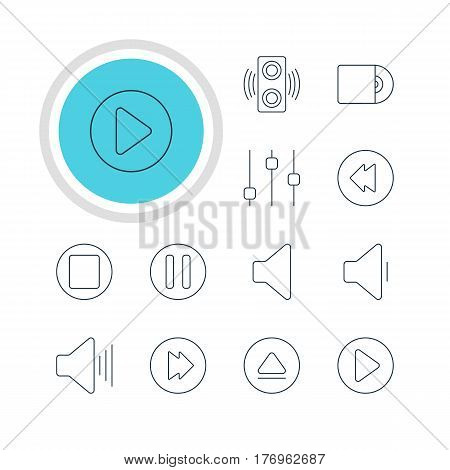 Vector Illustration Of 12 Melody Icons. Editable Pack Of Amplifier, Volume Up, Advanced And Other Elements.