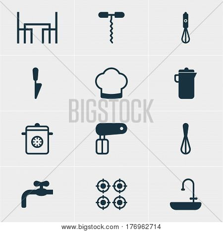 Vector Illustration Of 12 Kitchenware Icons. Editable Pack Of Furnace, Whisk, Steamer And Other Elements.