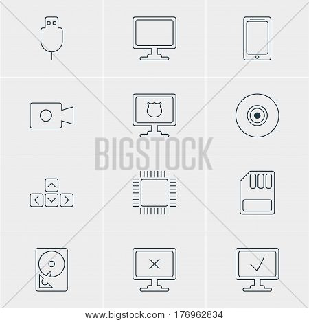 Vector Illustration Of 12 Laptop Icons. Editable Pack Of Serial Bus, Access Denied, Keypad And Other Elements.