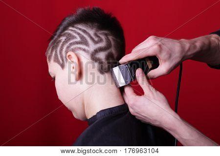 Cutting hair machine hairstyle hair tattoo girl haircut