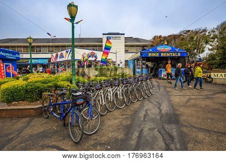 San Francisco, California, United States - August 14, 2016: typical bike rental at Fisherman's Wharf at Pier 39, one of the most famous places in San Francisco. California travel holidays concept.