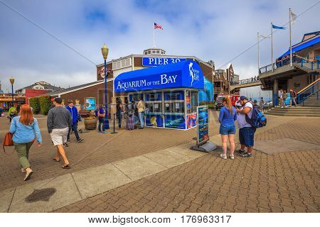 San Francisco, California, United States - August 14, 2016: Aquarium of the Bay, a popular attraction, between Embarcadero and Pier 39. Leisure, holidays and travel concept. San Francisco summertime.
