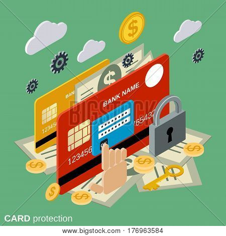 Financial security, card protection flat isometric vector concept illustration