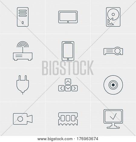 Vector Illustration Of 12 Computer Icons. Editable Pack Of Smartphone, Keypad, Tablet And Other Elements.