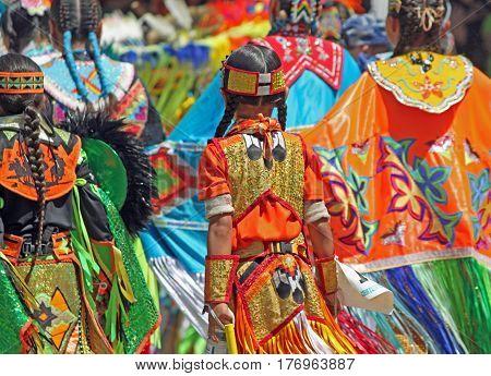Colorful Regalia on Parade at Native American Powwow