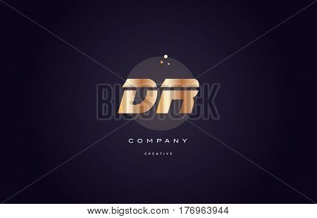 Dr D R  Gold Metal Purple Alphabet Letter Logo Icon Template