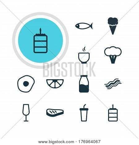 Vector Illustration Of 12 Meal Icons. Editable Pack Of Seafood, Lime, Bowl And Other Elements.