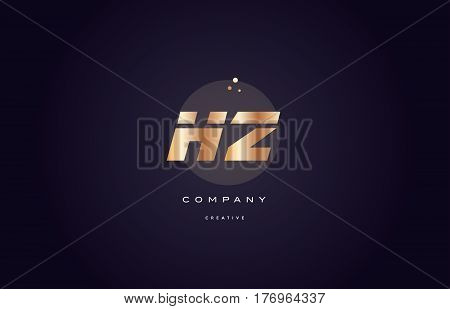 Hz H Z  Gold Metal Purple Alphabet Letter Logo Icon Template