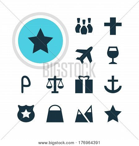 Vector Illustration Of 12 Location Icons. Editable Pack Of Bookmark, Wineglass, Landscape Elements.