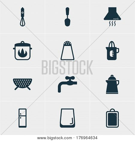 Vector Illustration Of 12 Restaurant Icons. Editable Pack Of Chopping Desk, Glass Cup, Refrigerator And Other Elements.