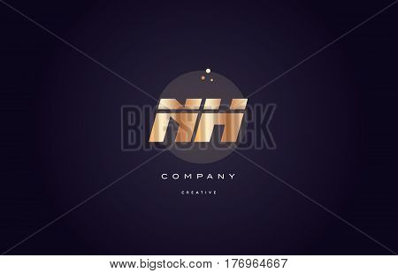 Nh N H  Gold Metal Purple Alphabet Letter Logo Icon Template