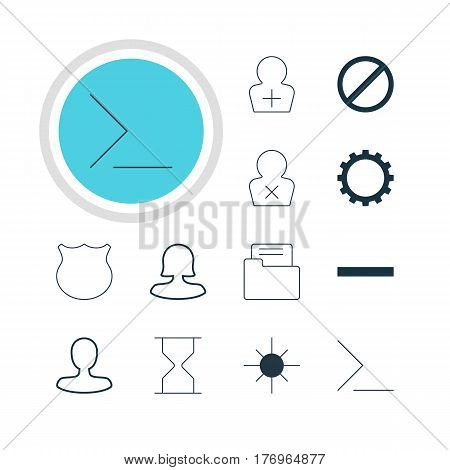 Vector Illustration Of 12 User Icons. Editable Pack Of Minus, Banned Member, Man Member And Other Elements.