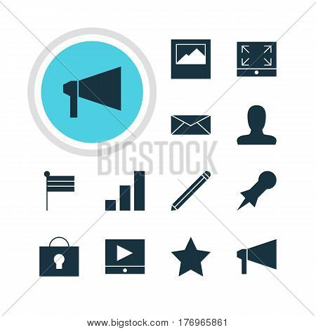 Vector Illustration Of 12 Web Icons. Editable Pack Of Letter, Increase Chart , Landscape Photo Elements.
