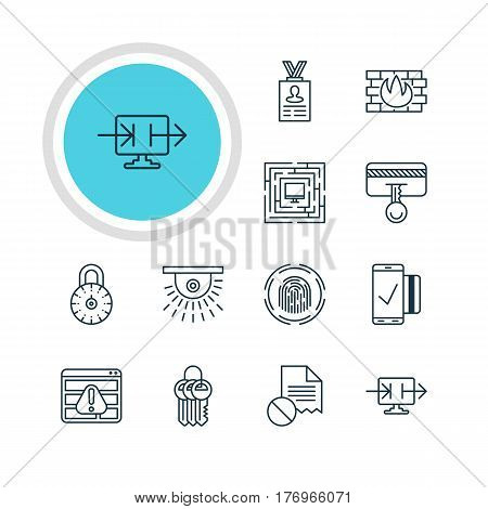 Vector Illustration Of 12 Internet Security Icons. Editable Pack Of Key Collection, Finger Identifier, Account Data And Other Elements.