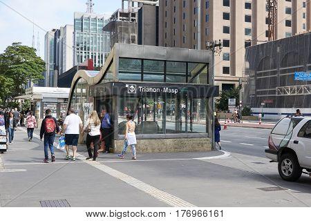Sao Paulo Brazil - October 23 2016: Entrance and exit of Trianon Masp subway station on avenue Paulista in Sao Paulo.