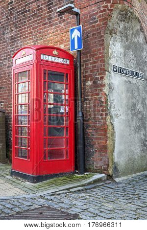 Old Type Phone booth. Old Portsmouth Uk.