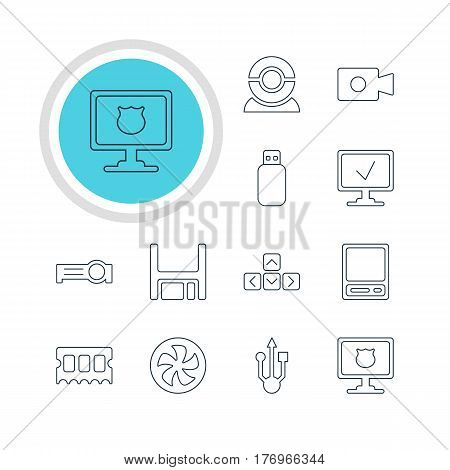 Vector Illustration Of 12 Laptop Icons. Editable Pack Of Cooler, Keypad, Web Camera And Other Elements.