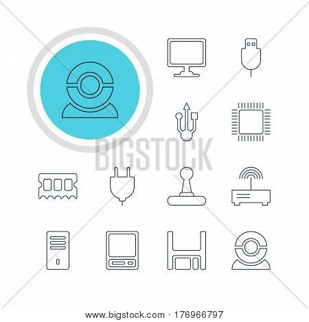 Vector Illustration Of 12 Notebook Icons. Editable Pack Of Serial Bus, Pda, Game Controller And Other Elements.