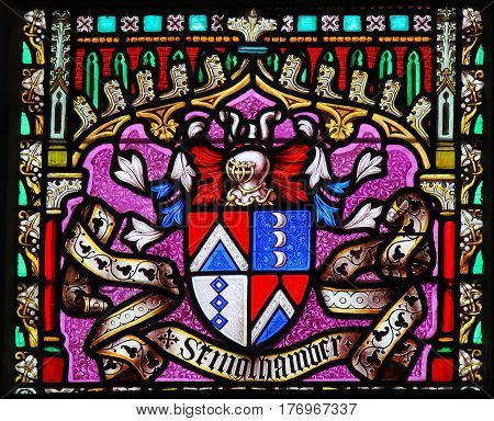 Coat Of Arms - Stained Glass In Sablon Church, Brussels