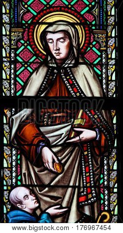Stained Glass - Saint Frances Of Rome Or Santa Francesca Romana