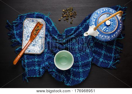 Set Of China Tea Background. Ceramic Teapot With Cup On Wooden