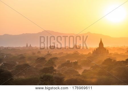 A beautiful sunset in Bagan Archaeological Zone. This temple town is one of Myanmar's main attractions.