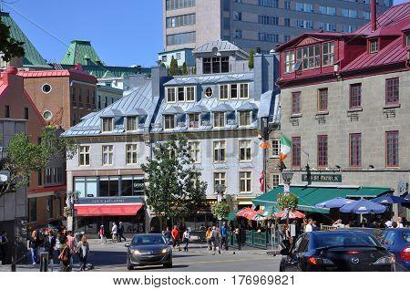 QUEBEC CITY, CANADA - SEP 10, 2011: Colorful Houses Restaurant Au Parmesan on Rue Saint Louis in Quebec City, Quebec, Canada. Historic District of Quebec City is UNESCO World Heritage Site.