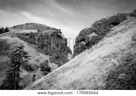 A black and white shot of Saddle Mountain in Oregon