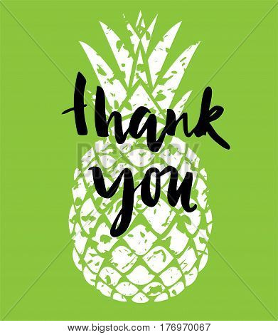 vector illustration of a thank you card with pineapple
