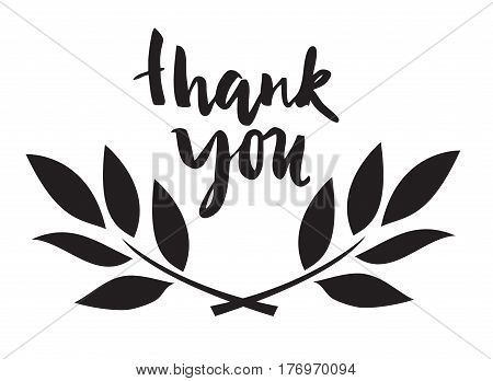vector illustration of thank you card with olive branches