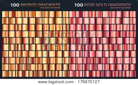 Rose gold, bronze gradient, pattern, template.Set of colors for design, collection of high quality gradients.Metallic texture, shiny background.Pure metal.Suitable for text, mockup, banner, ribbon , ornament.