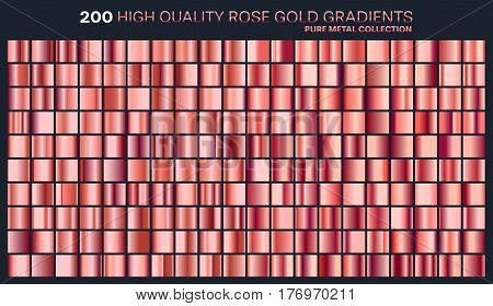 Rose gold gradient, pattern, template.Set of colors for design, collection of high quality gradients.Metallic texture, shiny background.Pure metal.Suitable for text , mockup, banner, ribbon or ornament.