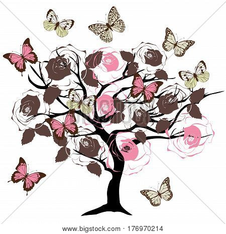 vector illustration of a vintage tree with butterflies roses