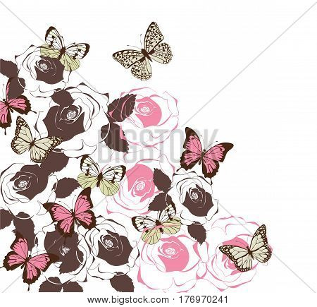 vector illustration of a vintage floral card with roses butterflies
