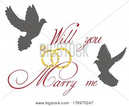 vector illustration of a wedding card with doves and golden rings