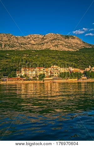 TUCEPI, CROATIA - September 20, 2016 Beautiful nature of Tucepi touristic town on the Adriatic Sea coast, Croatia.