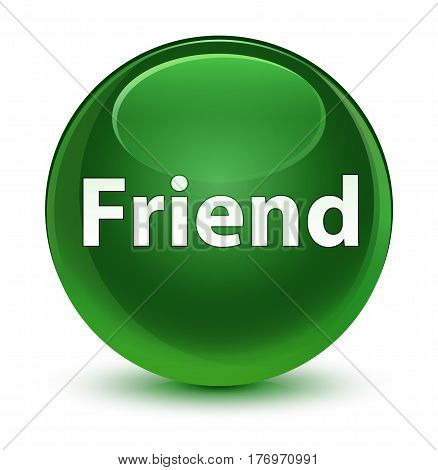 Friend Glassy Soft Green Round Button