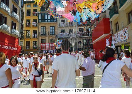People celebrate San Fermin festival, 06 July 2016, Pamplona, Navarra, Spain.