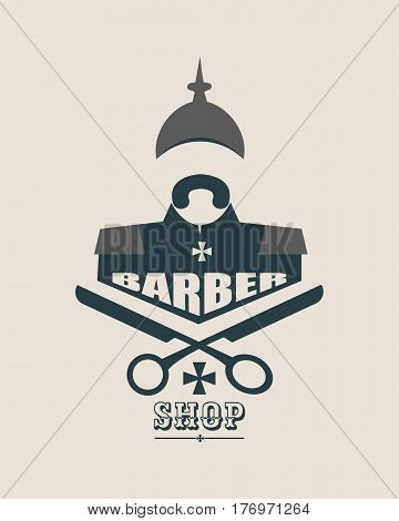 Barber shop vector vintage label, badge, or emblem on gray background. German infantryman